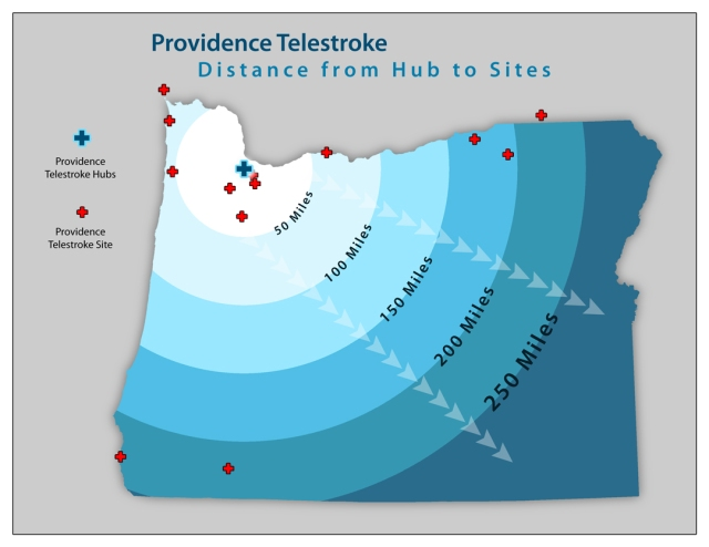 Providence Telestroke Site Distances to Hub