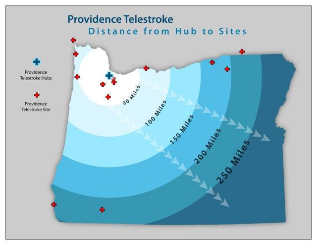 Providence Telestroke Site Distances to Hub