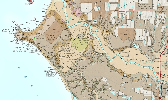 Plate 1. Geologic map of the Cape Blanco and Sixes 7.5-minute qu